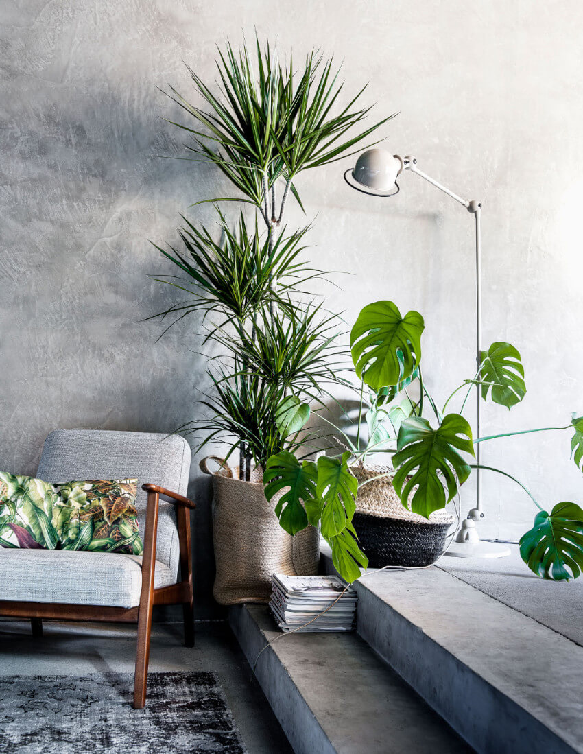 Concrete brings that stylish industrial feeling.