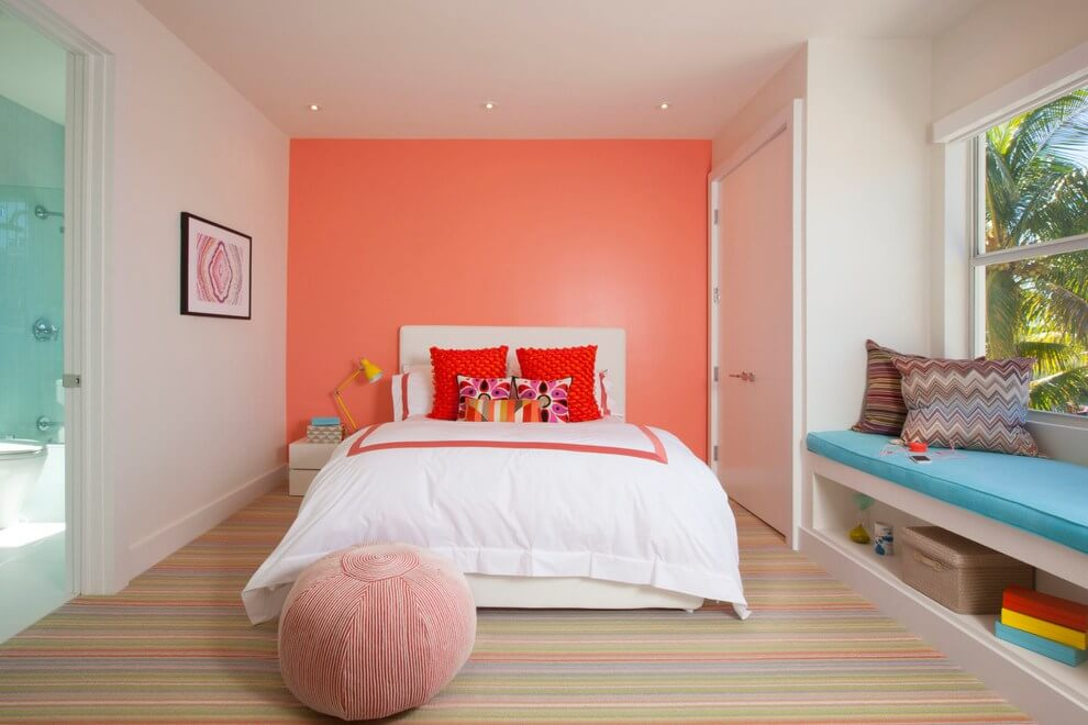 Salmon is an often underused color for interiors
