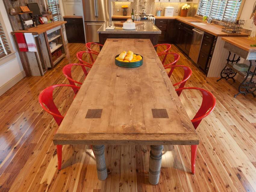 Any kitchen or dining room table can be beautified with reclaimed wood