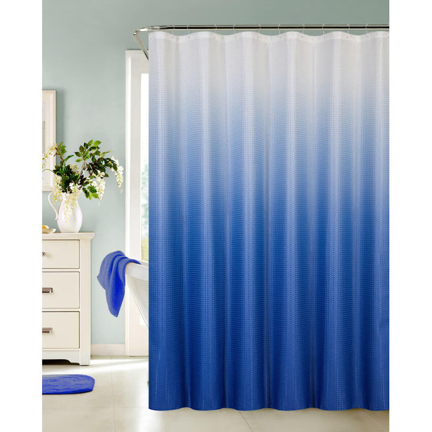 Blue shower curtains in the bathroom