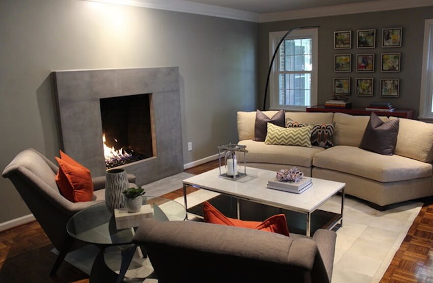 A fireplace mantel in the living room