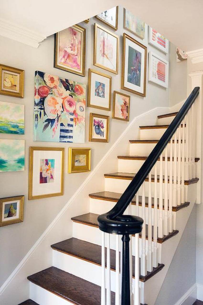 Wall art around a staircase interior home design