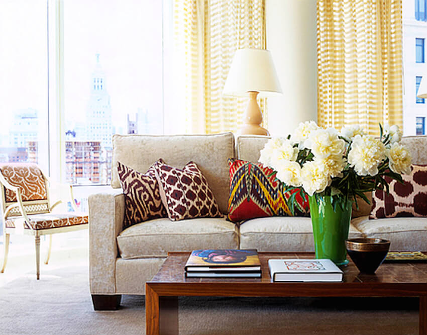 Colorful pillow options for a couch in a living room