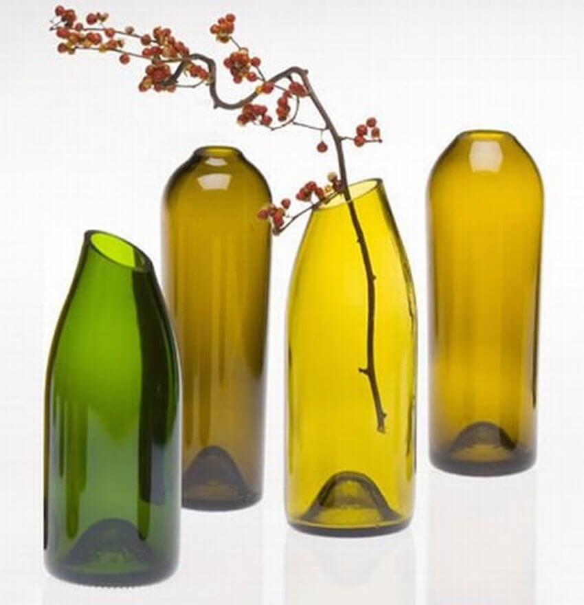Modern cut vases in a living room