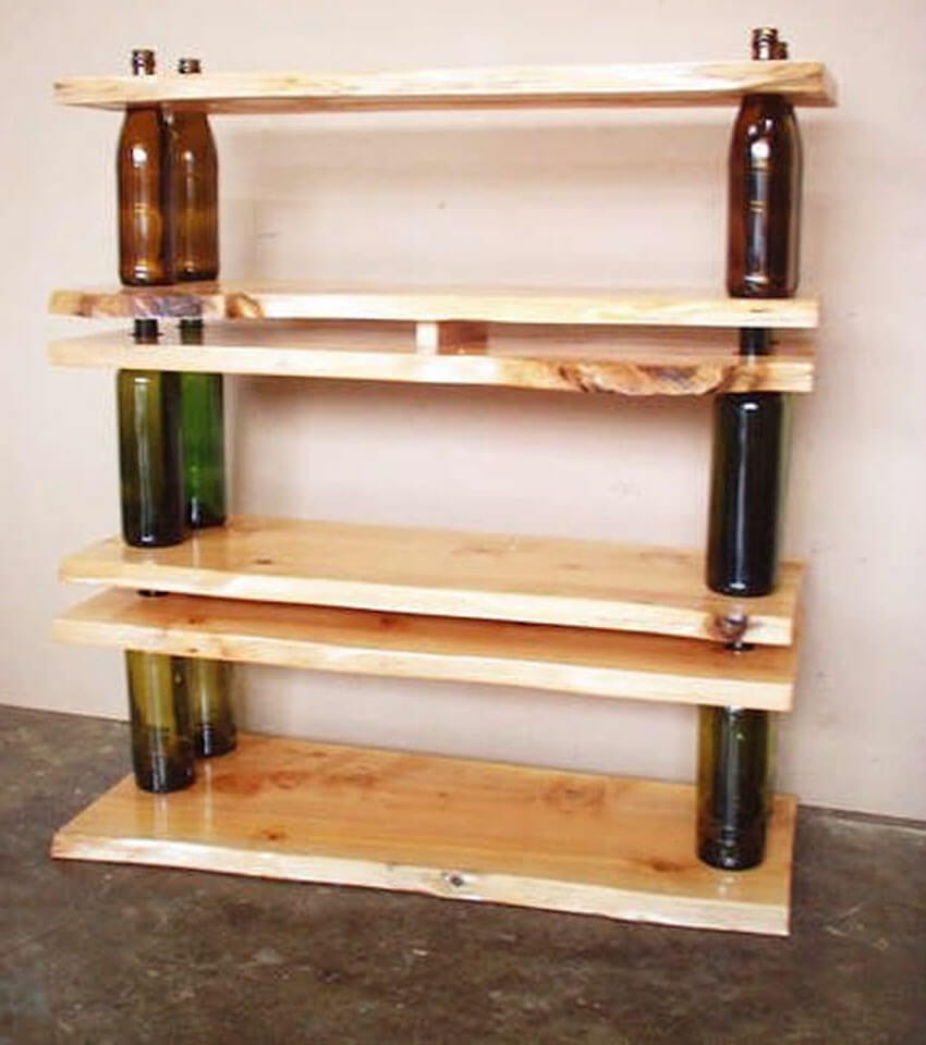 Shelving units from nothing more than wood, wine bottles, and free time