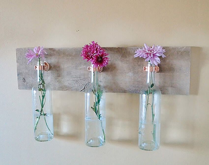 Clear glass bottle flower vases