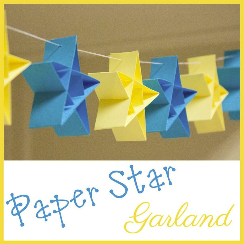 Interior DIY projects: Using easy DIY 3D paper star garland is a great way to celebrate 4th of July!