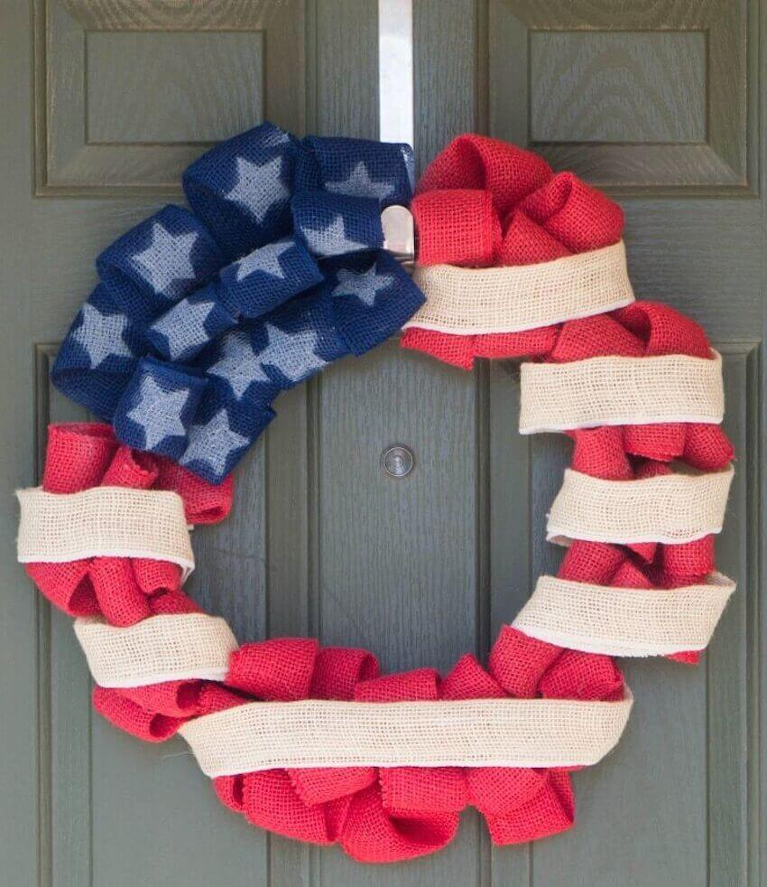 Exterior home decor: An American flag wreath can be made out of almost any material and you can easily make one to fit your home and your style.