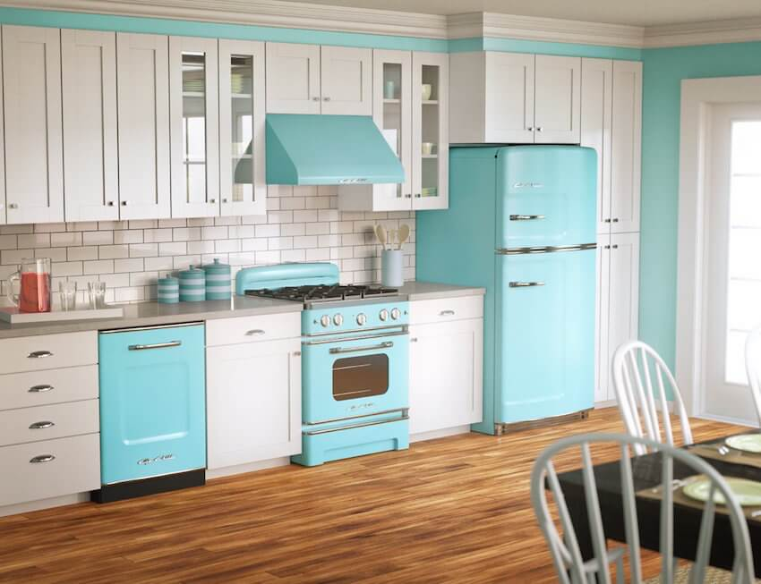Vintage blue kitchen and dining room options