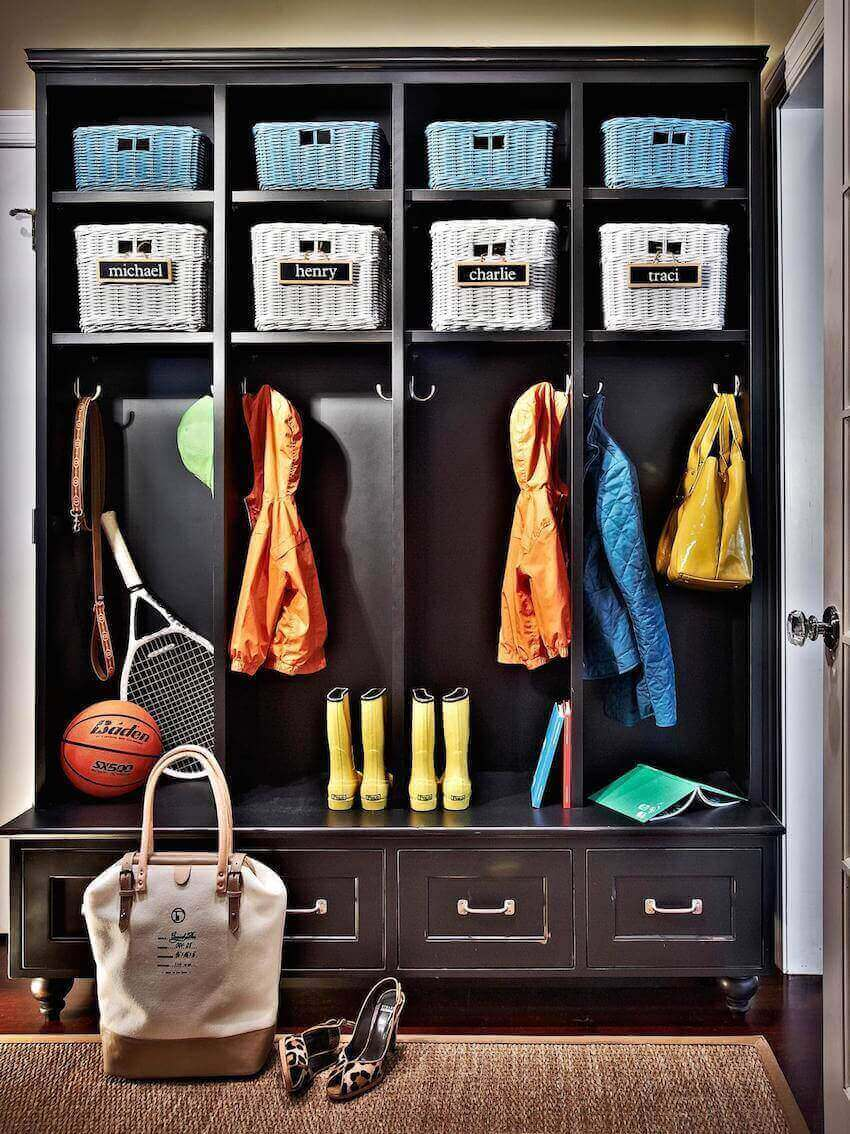 Home interior mudroom for the family.