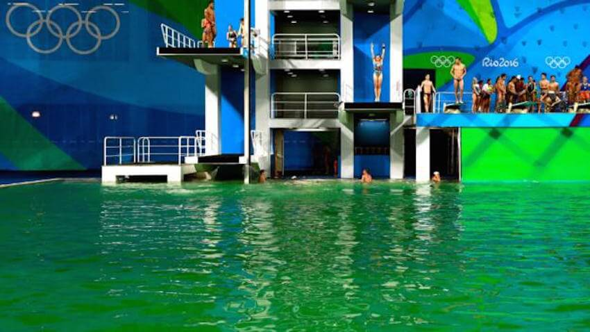 Water turned green overnight at the Rio Olympic Games, causing concern and embarrassment.