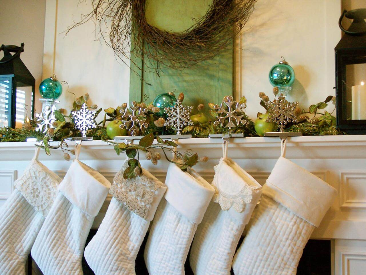 Stocking all neat in a row adorning your fireplace