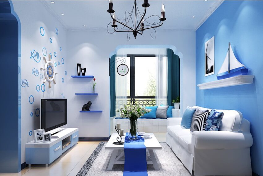 Interior painting in blue! Soft, warm living room colors