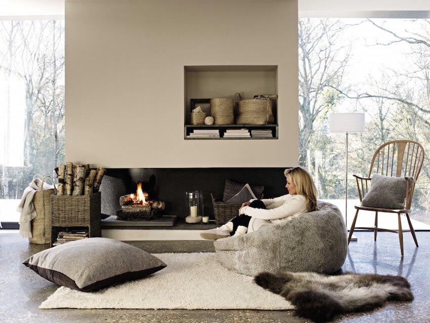 Soft pillows on a living room floor