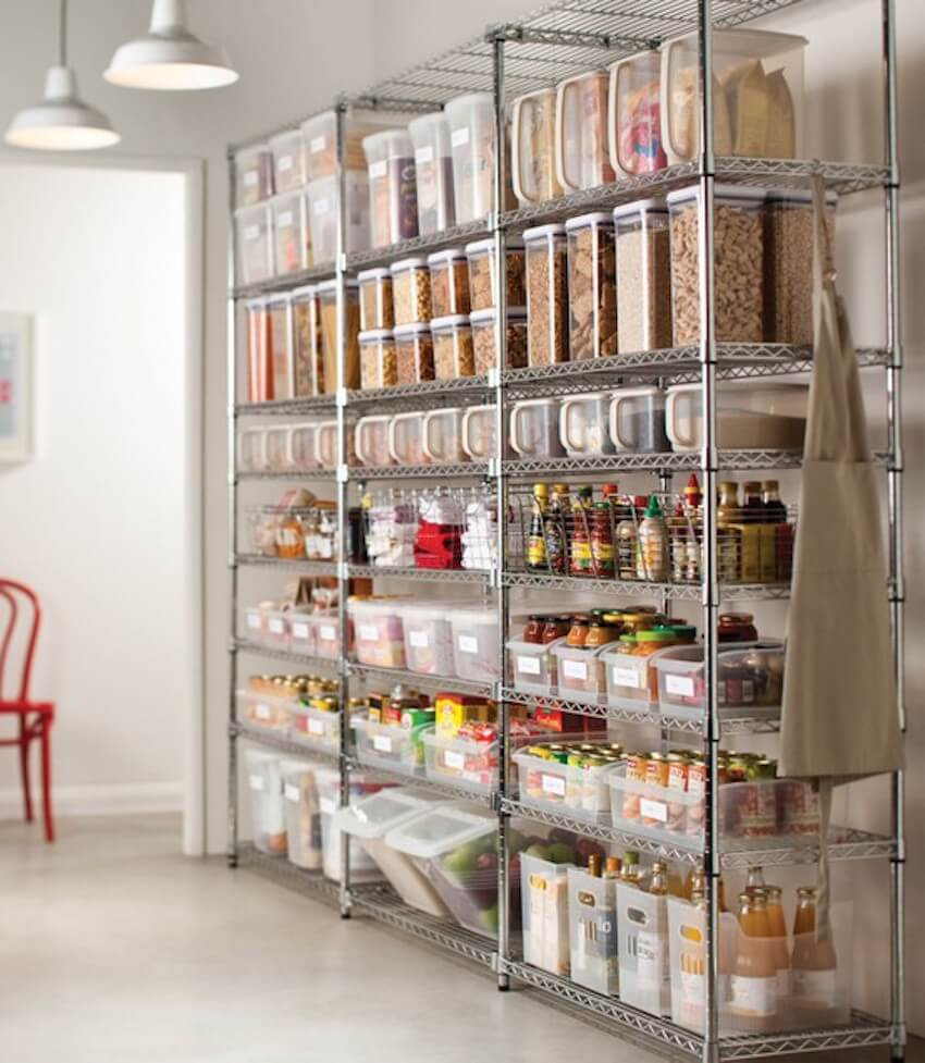 Save space in the kitchen with shelving units