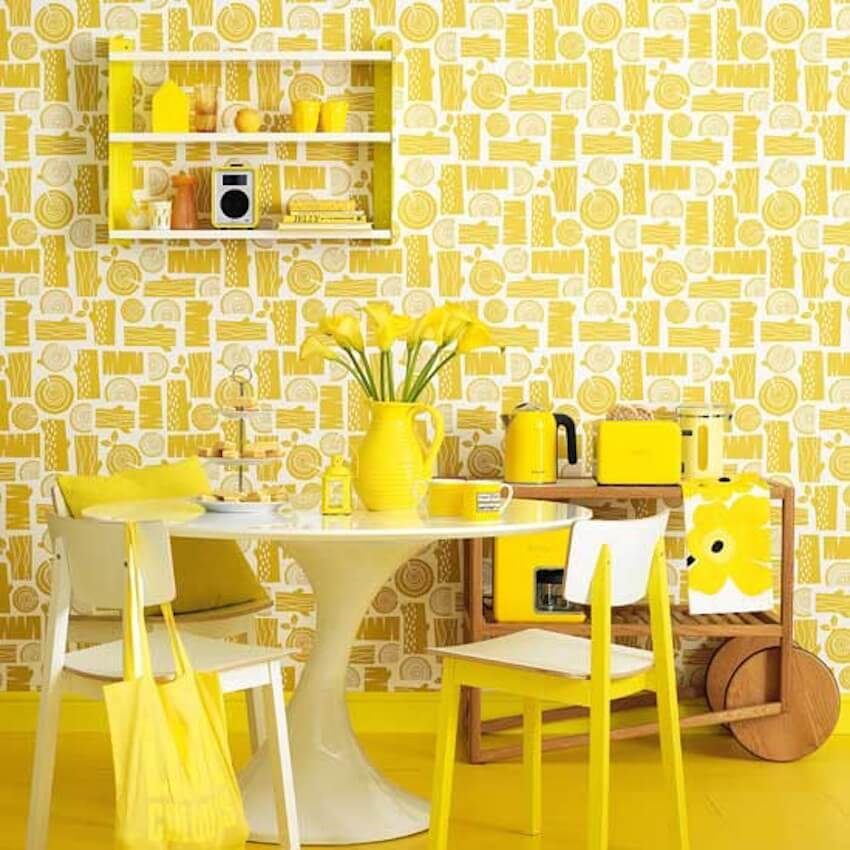 And it was all yellow:kitchen and dining room table