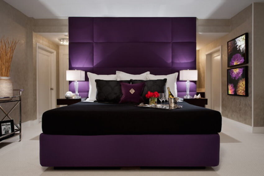 Purple and black color scheme for a sexy bedroom delight