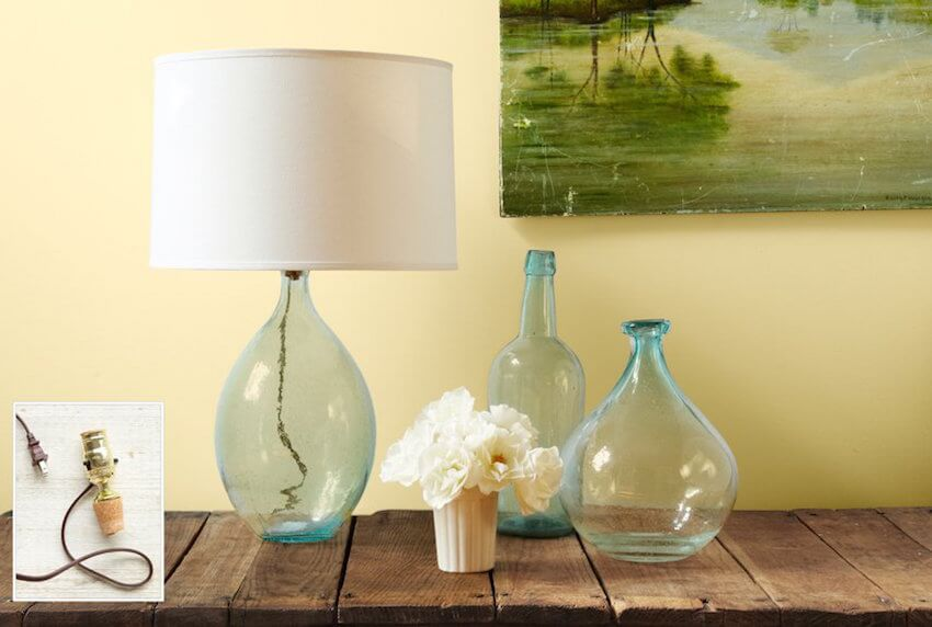 Home decor with DIY glass jar lamps