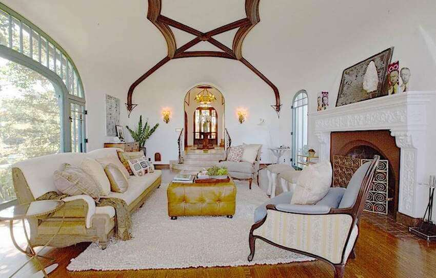 Interior living room design: Formerly owned and remodeled by singer/songwriter Sia, this mediterranean style home in LA stands out as one of the most beautiful homes on the list.