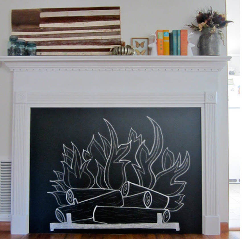 DIY chalkboard fireplace that can be placed in any room