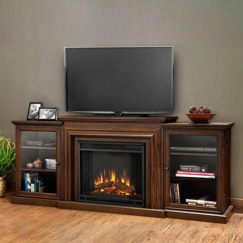 Relax in the basement with a great electric fireplace