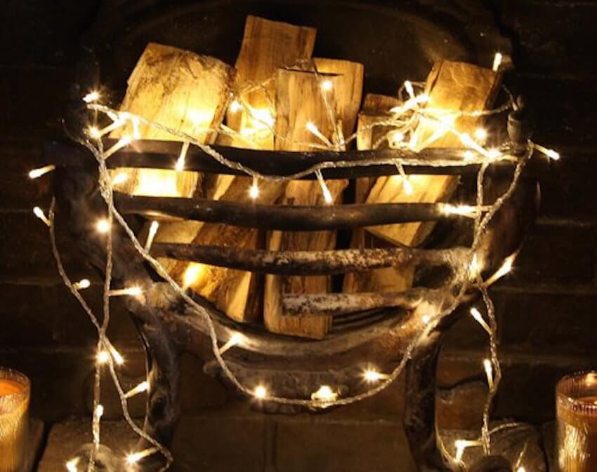 Airy light fairy lights for a fireplace mantel