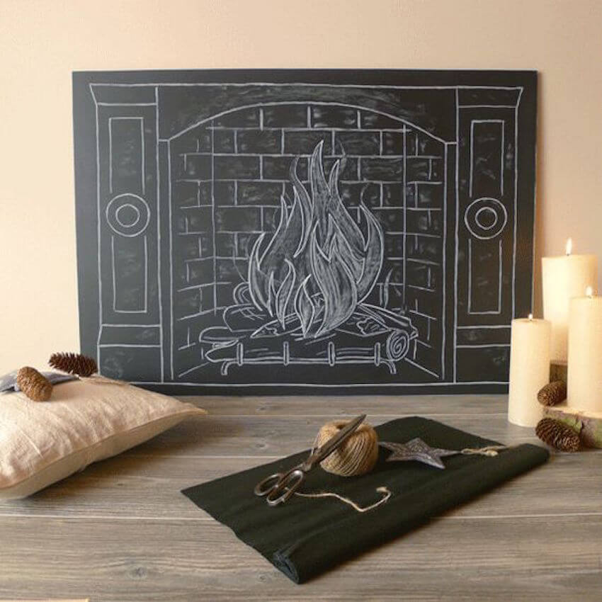 Chalk it up to a DIY fireplace where you'll never have to worry about fire