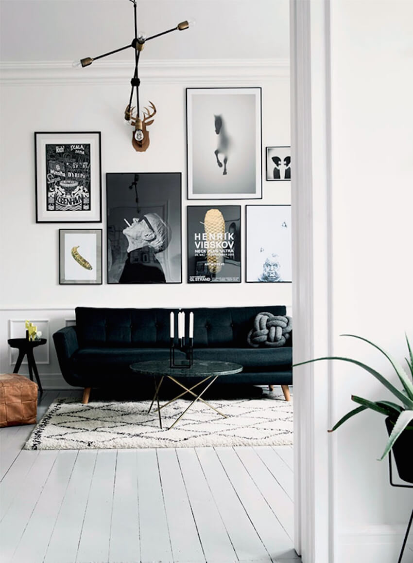 Black and white galley wall art for a home interior