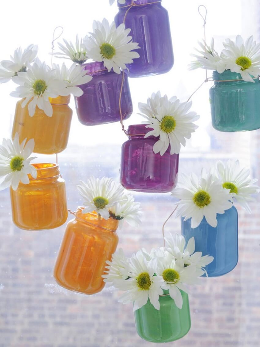 Floral jars as interior DIY home decor