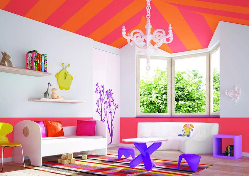 Loud, vibrant colors and designs for a home interior