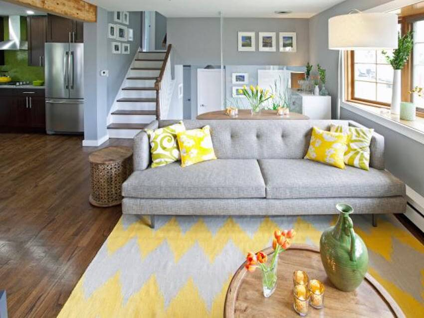 Grey and yellow carpeting options for an interior living room