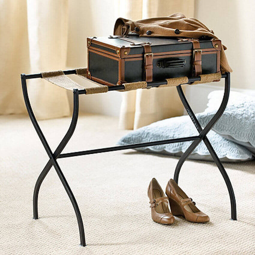A simple bedroom luggage rack can make all the difference