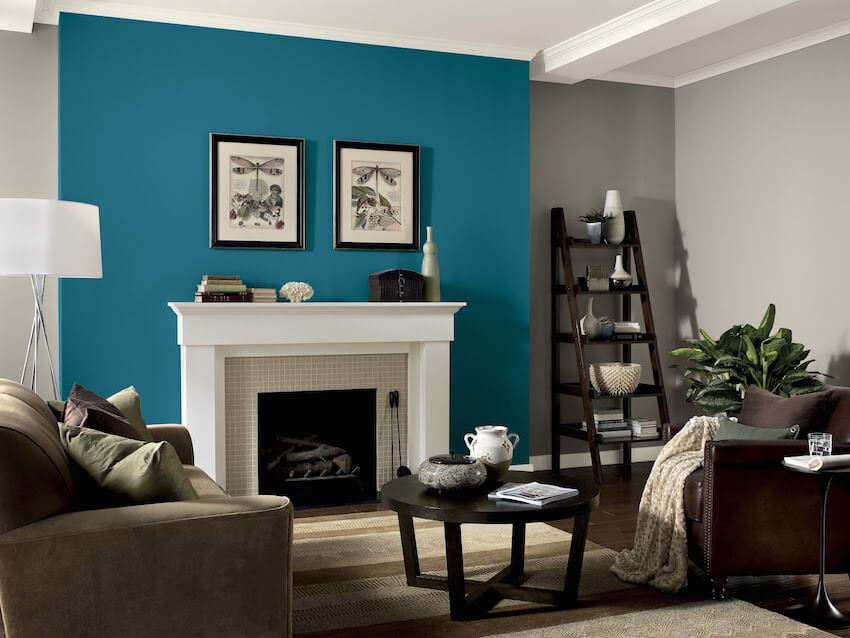 Interior painting: brightly colored accent wall