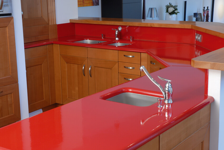Red Corian Kitchen Countertops for your home interior