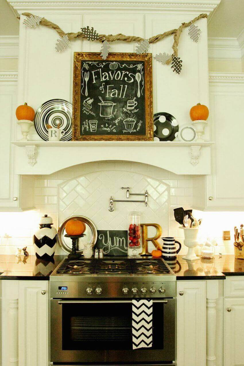 White cabinets are the perfect backdrop for fall decor.