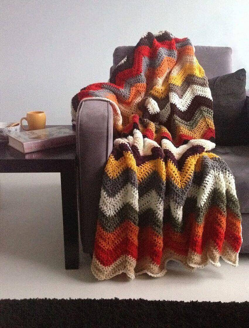 This crocheted afghan's autumn colors are perfect for snuggling up!