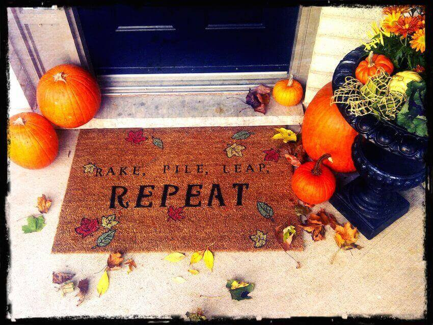 Fall doormats are easy ways to dress up any porch.