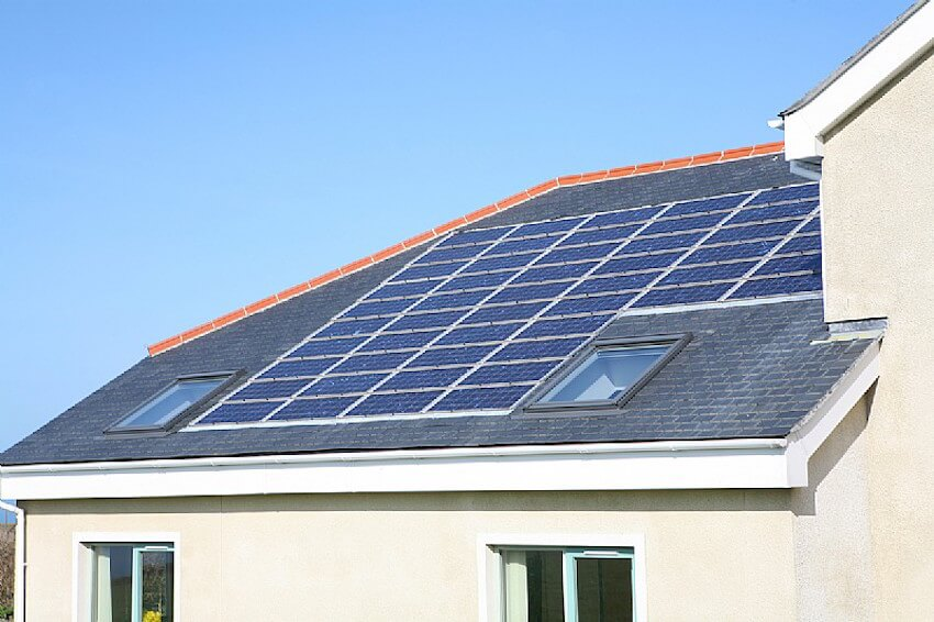 Energy saving solar panels on a tiled roof
