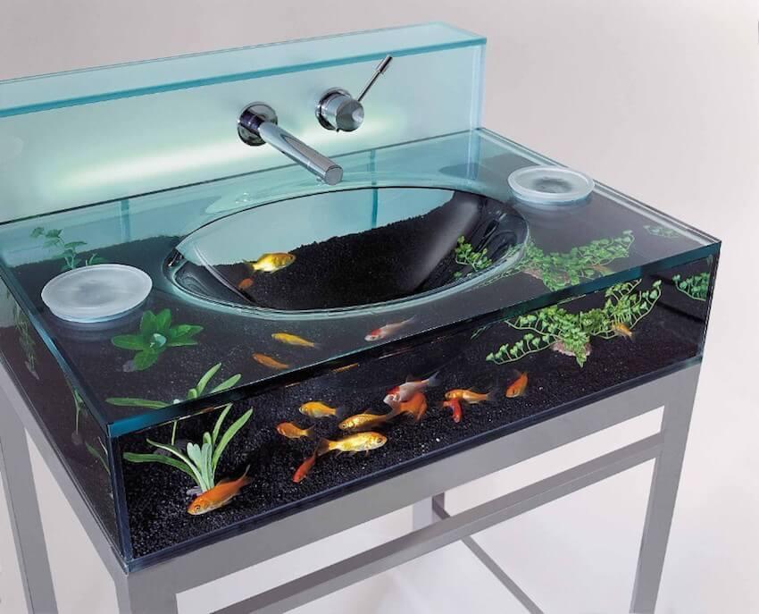 An aquarium for a sink makes for an incredibly custom bathroom