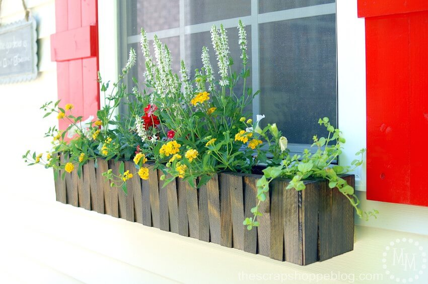Wooden shim window box makes for a perfect fit