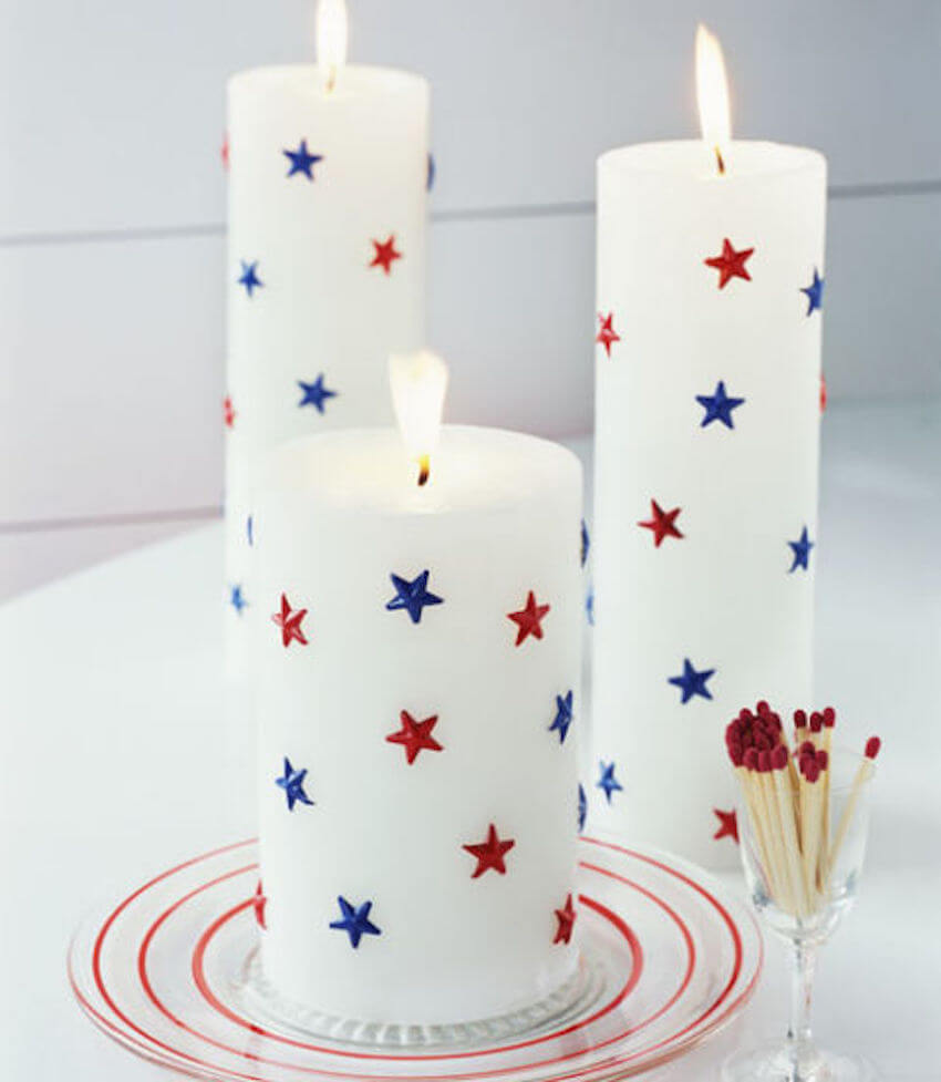 Interior or exterior home star spangled candles