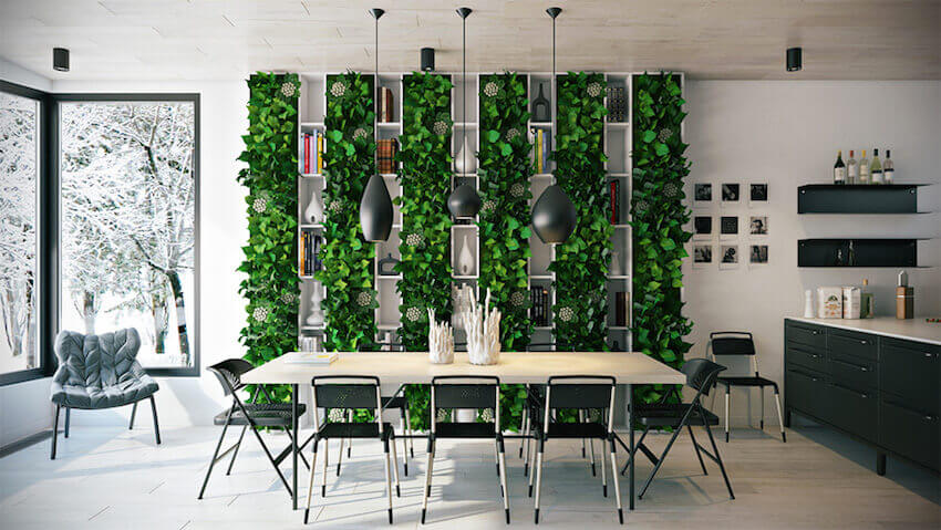 If you truly want to bring the outdoors into your dining room, your best option is to grow a living wall and use it as a lively backdrop for your dining table.