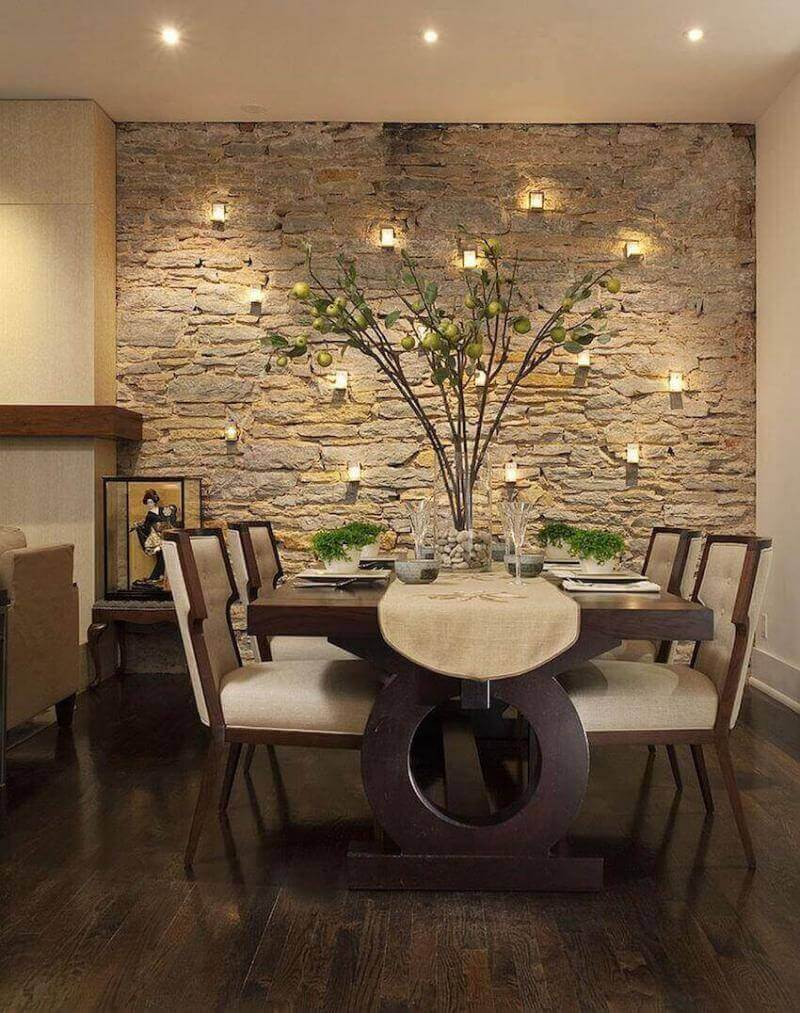 Add natural elements to your dining room, such as a wood table, stone wall, and greenery, will make your dining room feel more relaxed and comfortable.