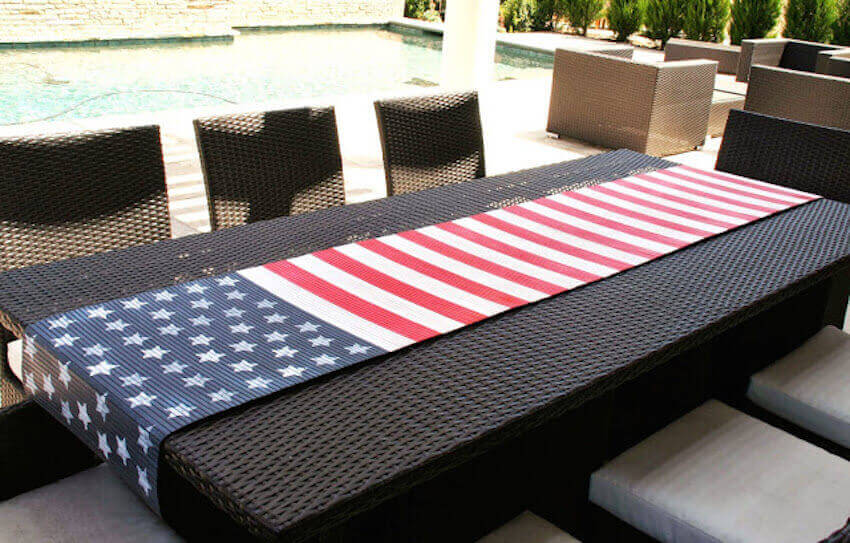 Customized outdoor memorial day diy flag table runner