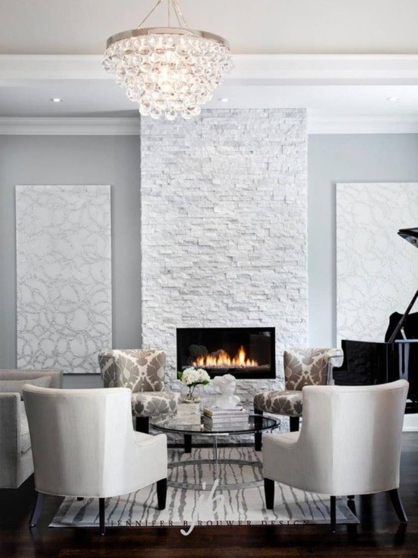 Stone white is an incredibly alternative for spacious rooms.