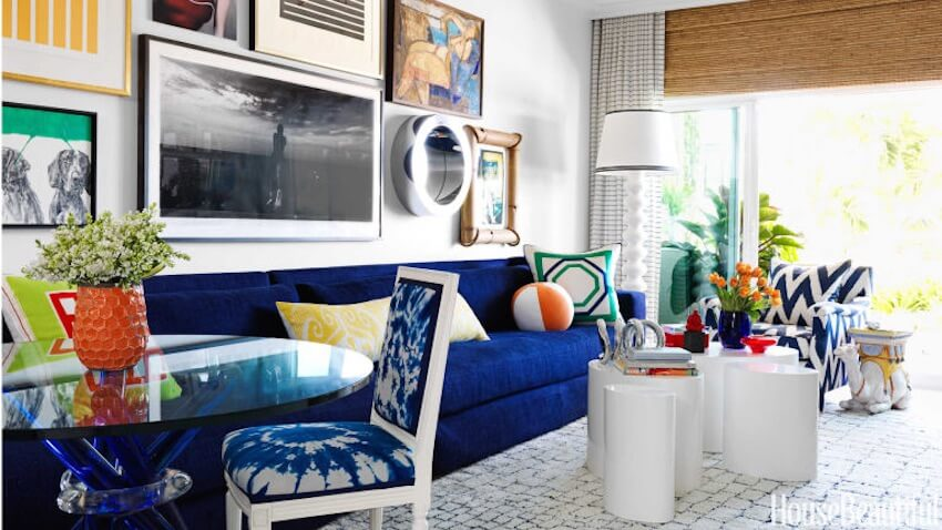 Colorful splashes of paint everywhere in a living room