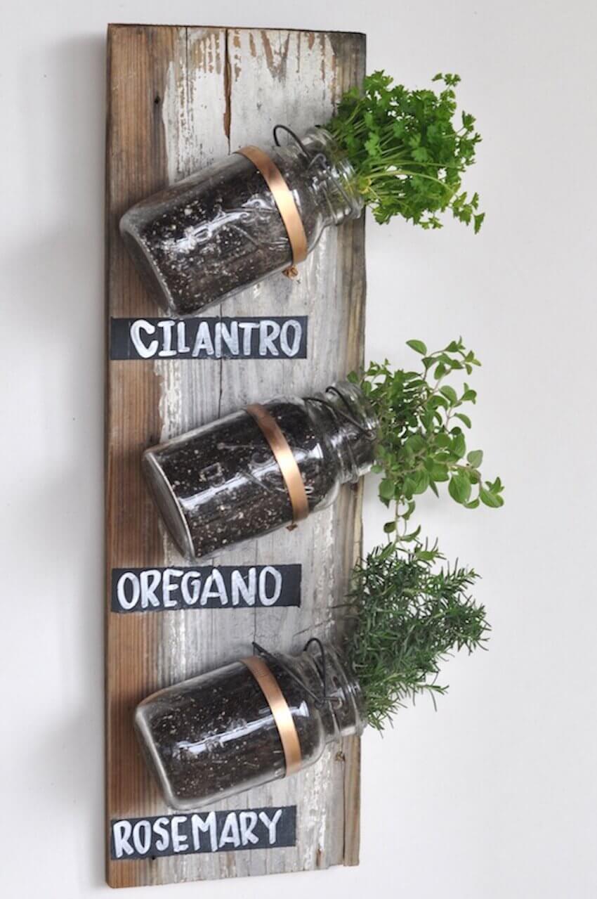 Old timey mason jar herb garden
