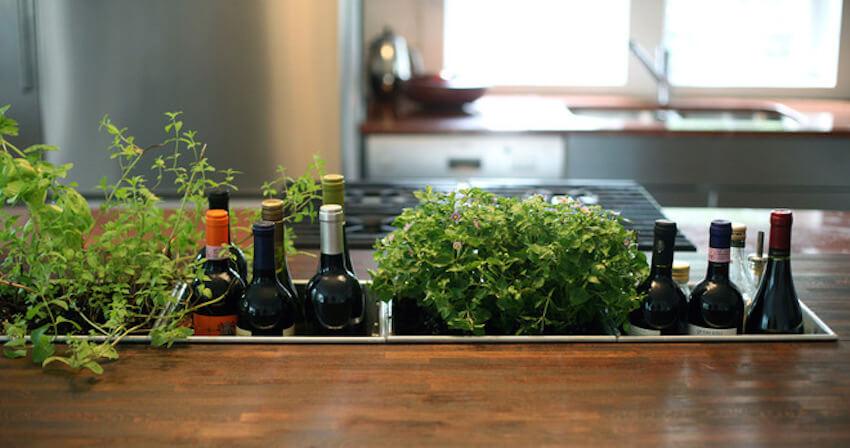 Beautiful barlike sunken countertop herb garden