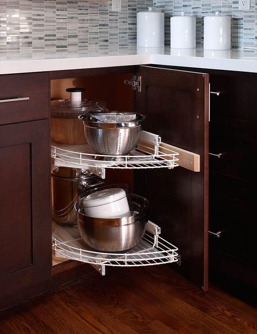 Dining room secrets: use a lazy susan to organize corner cabinets