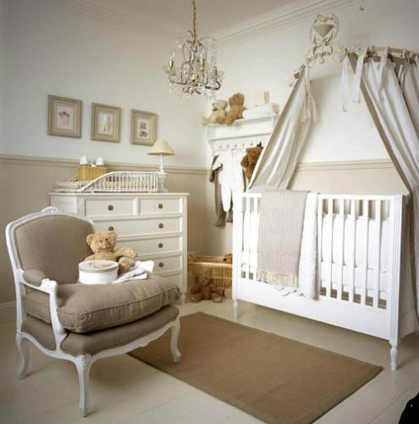 All white interior design children's bedroom